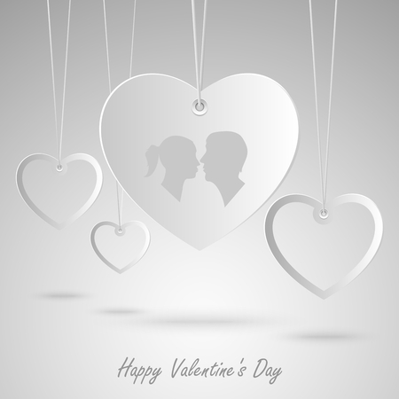 Valentine card with white hearts hanging template vector eps 10 Illustration