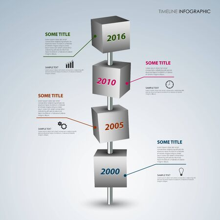 time line: Time line info graphic with gray design cubes template vector eps 10