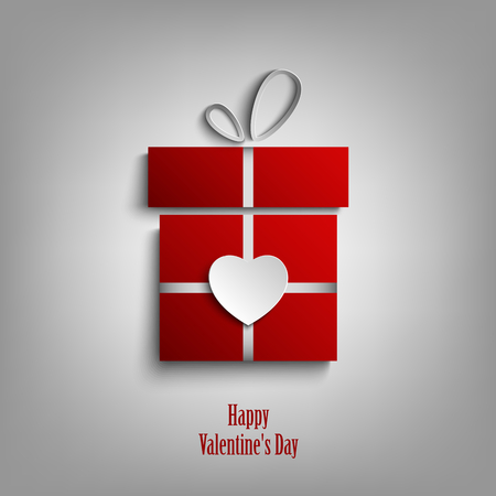 atypical: Valentine card with red gift and heart template vector eps 10