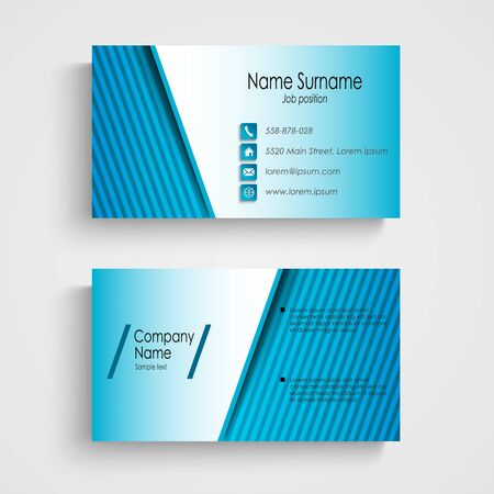 atypical: Business card with blue stripes template vector eps 10