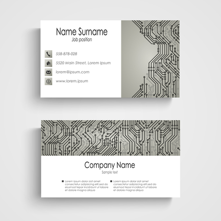 Business card with abstract printed circuit board