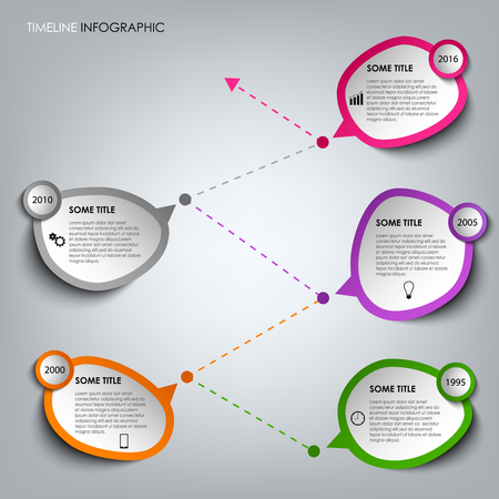 time line: Time line info graphic with colored design stickers template