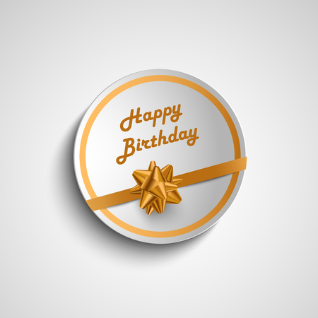birthday cards: Birthday card sticker with gold ribbon