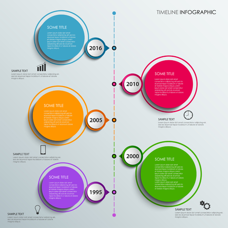 time line: Time line info graphic with colorful design elements circles vector eps 10