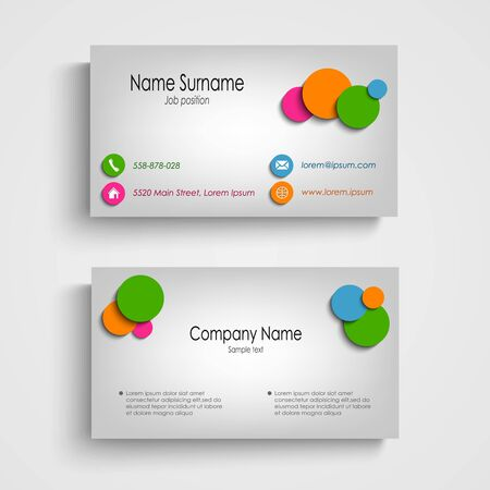 atypical: Business card with colored circles template vector eps 10 Illustration