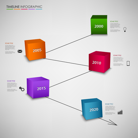 time line: Time line info graphic with colored cubes template vector Illustration