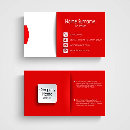 business card design: Business card with red white background template vector