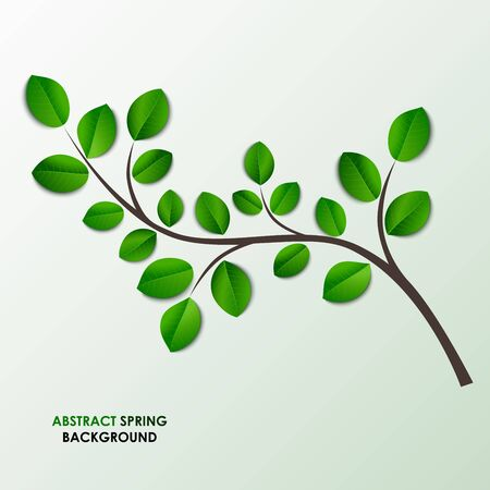 a twig: Spring twig with green leaves background vector