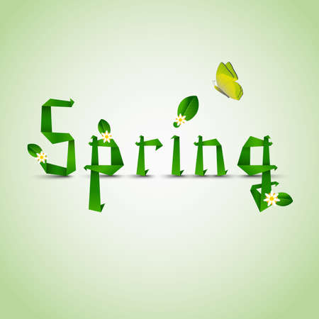 atypical: Spring card with folded letters leaves and flowers Illustration