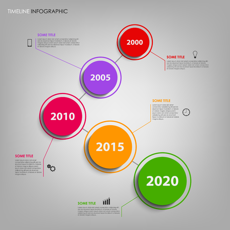 time line: Time line info graphic with colorful design rounds