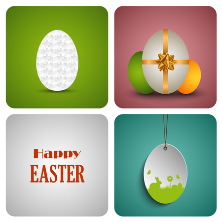 atypical: Easter decorative card with different eggs