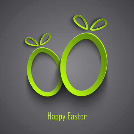 cutouts: Easter card with abstract design cutouts green eggs