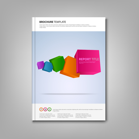 atypical: Brochures book with colorful abstract cubes template Illustration
