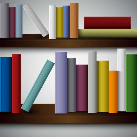 Colorful books on the shelves template Illustration