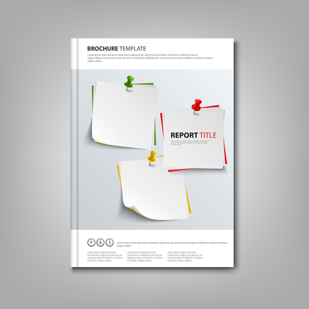 atypical: Brochures book with note papers and pins template Illustration