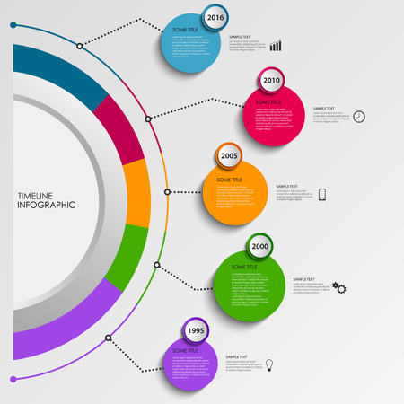 time line: Time line info graphic with design colorful circles template