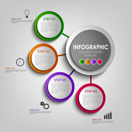 atypical: Info graphic with colored design circles poster template