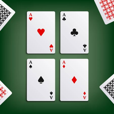 aces: Four aces for poker game Illustration