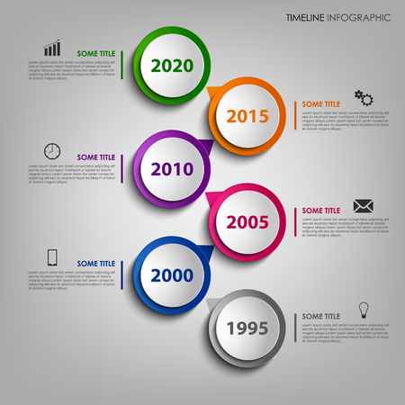 Time line info graphic with colorful design round pointer Vector Illustration