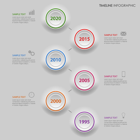 time line: Time line info graphic with gradiented colored circles template Illustration