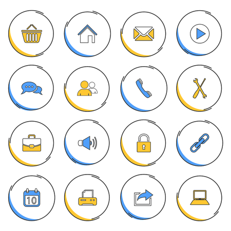atypical: Collection modern circular thin line icons for web vector
