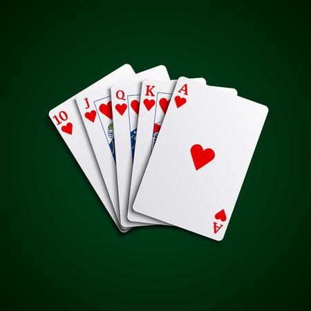 playfull: Pocker cards flush hearts hand vector eps 10