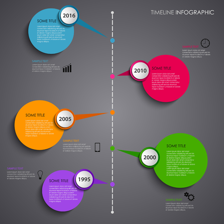 Time line info graphic with colored circular design indicators vector Illustration