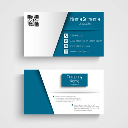 atypical: Business card with blue white effect design template vector eps 10 Illustration