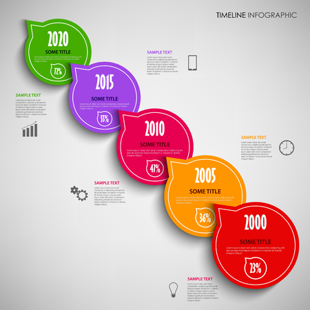 time line: Time line info graphic with colored pointers round template vector eps 10