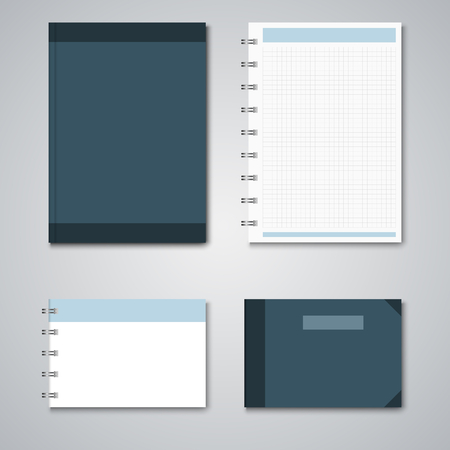 annotation: Collection blue and white notebooks template vector eps 10 Illustration