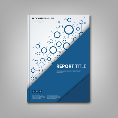atypical: Brochures book or flyer with triangular blue connection design template vector eps 10