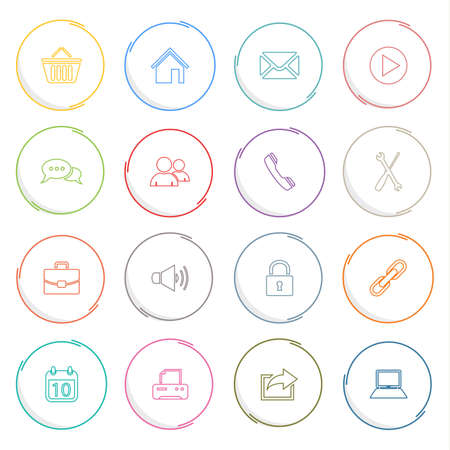 atypical: Collection colored atypical rounds thin line icons template vector eps 10