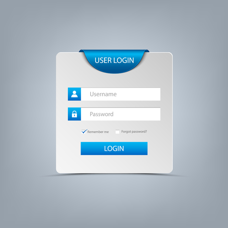 Login web screen with blue bookmark template vector eps 10