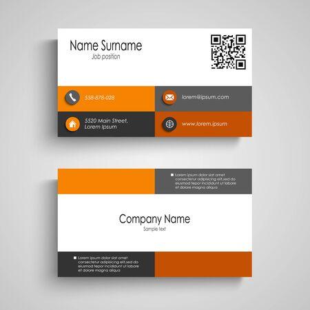 Business card with orange grey squares design