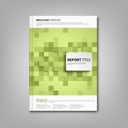 Brochures book or flyer with green square abstract mosaic vector eps 10 Illustration