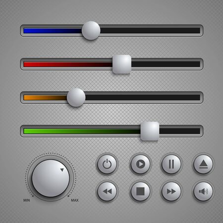 Web user elements silders and buttons template vector eps 10