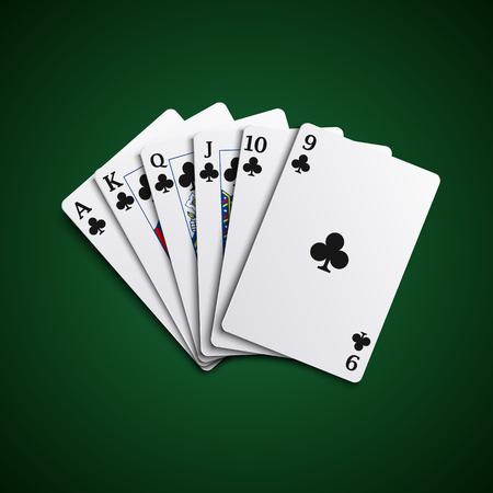 playfull: Poker cards flush acorns hand vector eps 10 Illustration