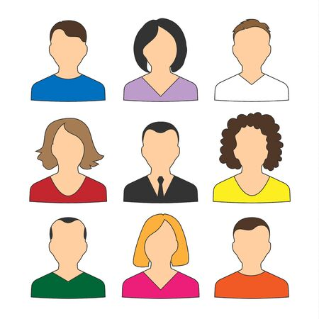 Collection of colored icons avatars people for web vector eps 10 Illustration