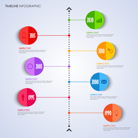 Time line info graphic with bent round pointer template vector eps 10 Illustration