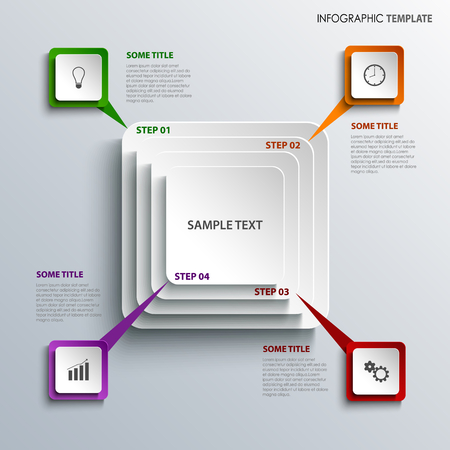 Info graphic with design squares template vector eps 10 Illustration