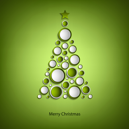 Christmas card with tree of green rings template Illustration