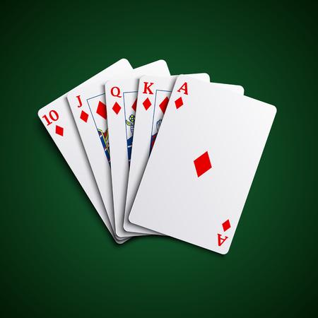 playfull: Poker cards flush diamonds hand