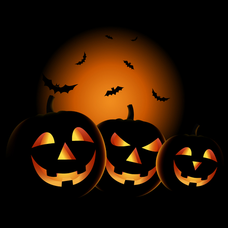 Halloween night with grinning pumpkins background