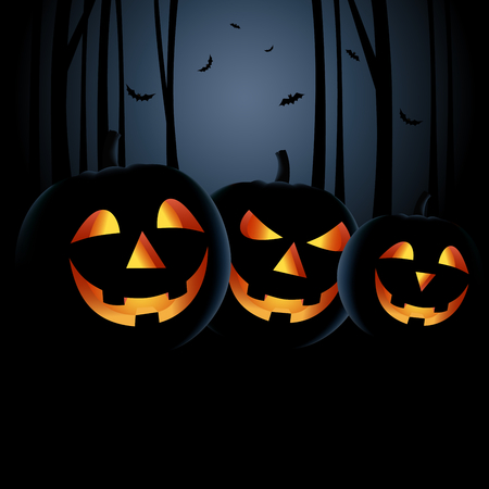 Halloween night with grinning pumpkins in a haunted woods Illustration