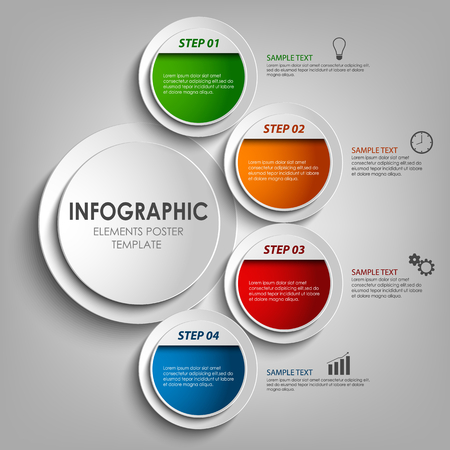 Info graphic with round colored labels design template Illustration