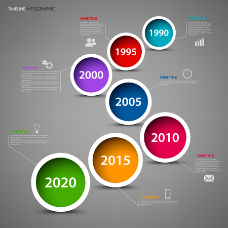 Time line info graphic with colored circles in row template