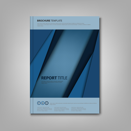 Brochures book with blue abstract stripes template Illustration