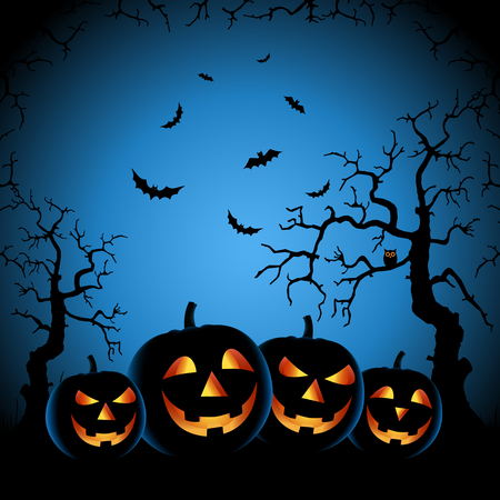 Halloween night with grinning pumpkins on blue background