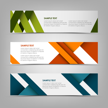 Horizontal banners with abstract colored stripes
