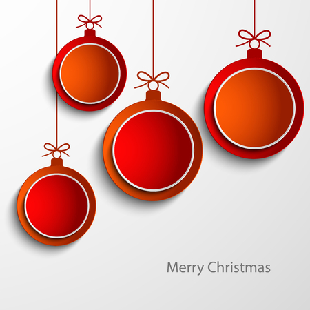 Christmas card with abstract orange and red balls